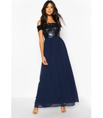 bridesmaid occasion sequin bardot maxi dress, navy