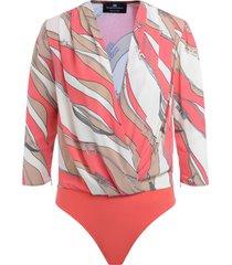grapefruit elisabetta franchi bodysuit shirt with multicolor foulard print