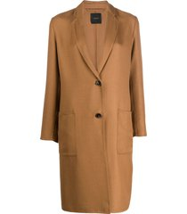 agnona fitted single-breasted coat - neutrals