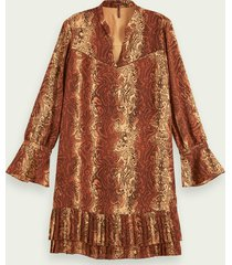 scotch & soda pleated hem long sleeve mini dress