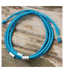 silver and braided polyester cord bracelet, 'best friend in blue' (thailand)
