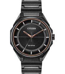drive from citizen eco-drive men's black stainless steel bracelet watch 41mm