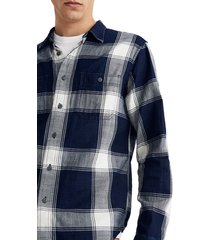 men's madewell indigo plaid twill work shirt