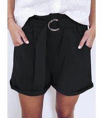 ajustable cinturón diseño shorts de cintura alta enrollados