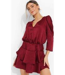 mini jurk met geplooide rok en v-hals, wine
