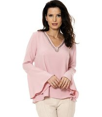 blusa bisô flare bordada feminina