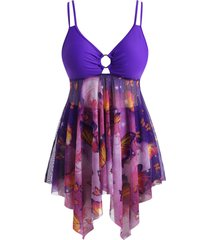 plus size o-ring butterfly print mesh panel handkerchief hem tankini swimwear