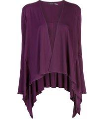 natori draped waterfall cardigan - purple