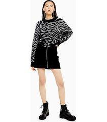 black corduroy double buckle skirt - black