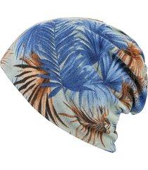 donna skullies beanie in cotone caldo con stampato a foglie bonnet sciarpa ad anello con protezione per orecchie a doppio uso
