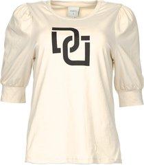t-shirt met pofmouwen monogram  naturel