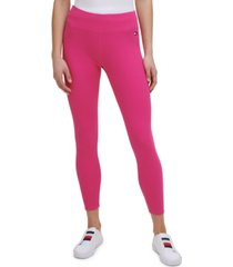 tommy hilfiger sport women's fine rib high-rise 7/8 length leggings
