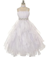 white ruched top with ruffled skirt flower girl birthday pageant wedding dresses