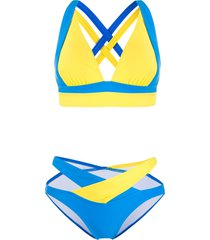 perfect moment vale cutout rainbow bikini - blue