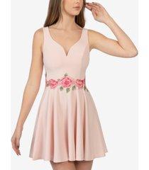 b darlin open back applique-waist dress
