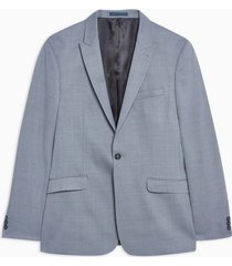 mens navy blue skinny fit premium textured single breasted suit blazer with peak lapels
