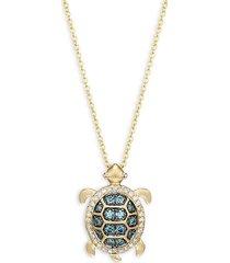 14k yellow gold, blue & white diamond turtle pendant necklace