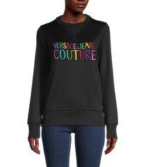 versace jeans couture women's logo sweatshirt - black - size l