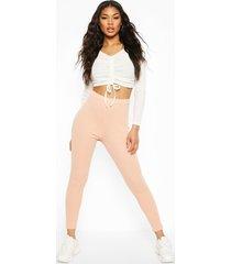 micro ribbed high waist legging, pastel pink