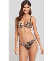 na-kd lingerie leopard lace back panty - multicolor