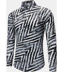 business casual black white lines stitching sottile misura camicia da uomo