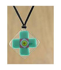 art glass pendant necklace, 'sea cross' (thailand)