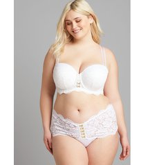 lane bryant women's scallop lace wide-side thong panty 18/20 bright white