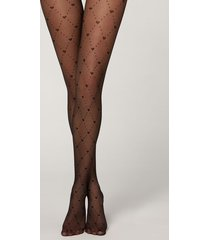 calzedonia diamonds and hearts 40 denier fishnet tights woman black size 3/4