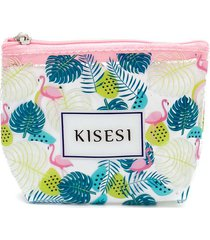 monedero estampado tropical color verde, talla uni