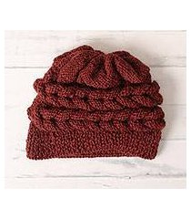 100% alpaca hat, 'redwood braid' (peru)