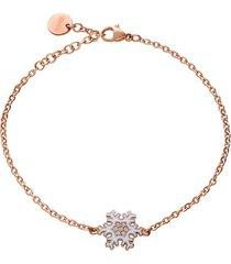 bracciale lady sweet acciaio rosato fiocco di neve e cristalli per donna