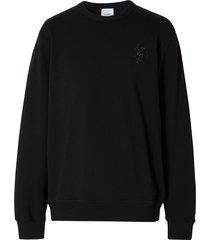 burberry crystal-embellished logo sweatshirt - black