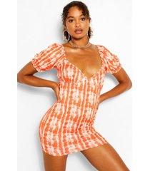 tie dye puff sleeve mini dress, orange