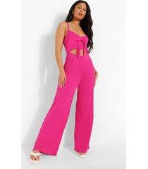 wide leg jumpsuit met bandjes, strik en uitsnijding, hot pink