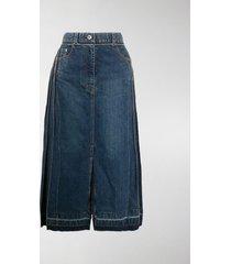 sacai panelled denim pleated skirt
