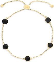 effy women's 14k yellow gold & onyx bolo bracelet