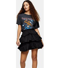 black taffeta ruffle mini skirt - black