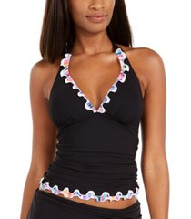 profile by gottex tricolore ruffled halter tummy-control tankini top, created for macy's women's swimsuit