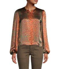 ganni women's leopard-print balloon-sleeve blouse - verdant green - size 36 (2)