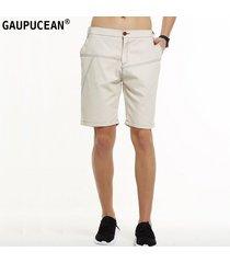 pantalones cortos casual gaupucean para hombre-beige