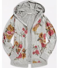 maurices plus size womens gray floral open front hooded cardigan