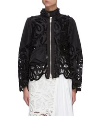 paisley lace buckle neck panel jacket