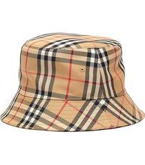 vintage check print bucket hat