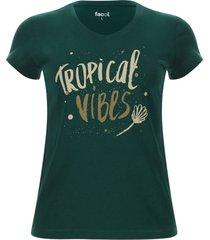 camiseta mujer tropical color verde, talla m