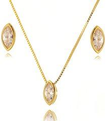 conjunto lua mia joias navetes com cravação inglesa banho ouro
