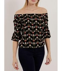blusa ciganinha manga 3/4 feminina