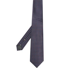 canali geometric print pointed tie - blue