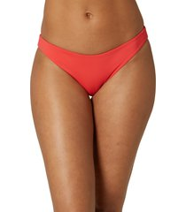 women's o'neill rockley saltwater solid bikini bottoms, size large - red