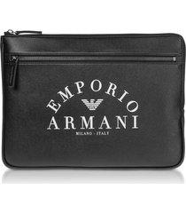 emporio armani designer men's bags, black flat portfolio case