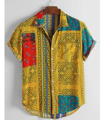 hombre verano multicolor estampado tribal empalmado bohemio playa vacaciones camisa